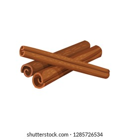 Three rolled sticks of cinnamon. Aromatic spice. Condiment for dishes. Cooking theme. Detailed flat vector design.