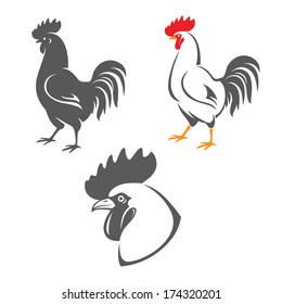Three rooster icons: head and two silhouettes