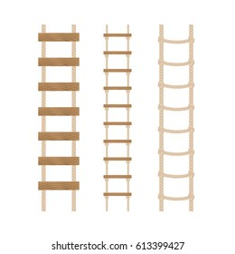 Three rope ladders on a white background.Vector illustration.