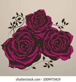 Three roses full vector handmade illustration