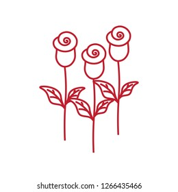 three roses thin line red icon on white background