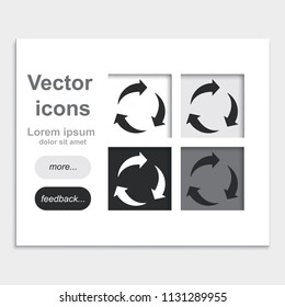 Three rotation arrows placed on web page template flat vector icon.