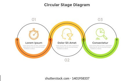 Three round links connected into horizontal chain. Concept of 3 stages of startup development plan or business strategy. Linear infographic design template. Modern vector illustration for banner.