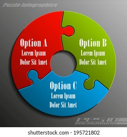 Three round piece flat puzzle infographic presentation. 3 step circle business diagram. Three section compare service banner. Vector illustration template shape . 3d Abstract Background