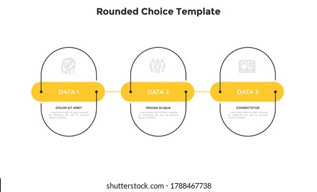 Three rounded elements placed in horizontal row and connected by line. Concept of 3 successive stages of business progress. Flat infographic design template. Simple vector illustration for banner.