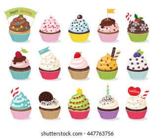 Three rows of five cupcakes that look appetizing. Colorful cupcakes isolated in white