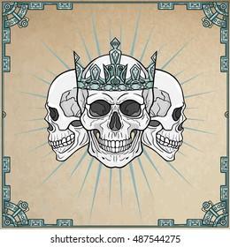 Three royal skulls.  Background - imitation of old paper, a decorative frame. Vector illustration.