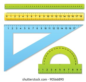 The three rulers and one protractor