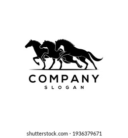 Three Running horse logo designs, good for mascot, delivery, or logistics, logo industry, flat color style with black.