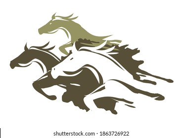 Three Running Horses. Expressive illustration illustration of fast running horses. Isolated on white background. Vector available.
