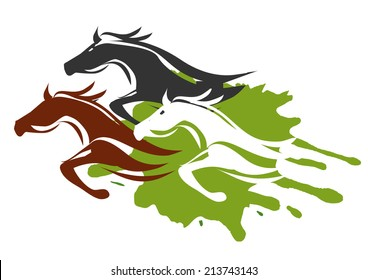Three Running Horses. Illustration of horses running through the tall grass.  Colorful Vector illustration on white background