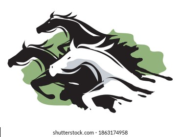 Three Running Horses. Stylized illustration illustration of fast running horses.Isolated on white background.Vector available.
