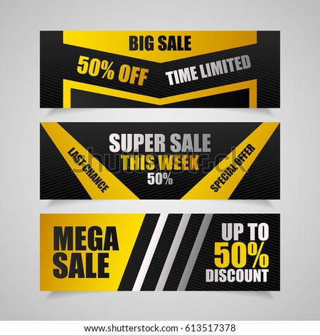 three sale flyers 50 off discount stock vector royalty free