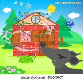 The three scared pigs are hiding in the bricks house while the big bad wolf is blowing