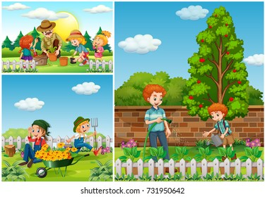 Three scenes with family doing gardening illustration