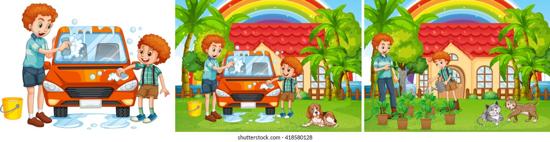 Three scenes of father and son doing chore illustration