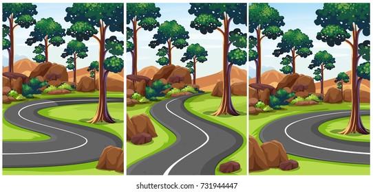 Three scenes of park with empty roads illustration