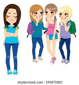 Three school girls bullying poor sad girl classmate