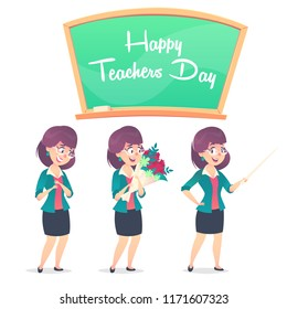 Three school teacher poses and chalkboard. Happy Teachers Day.