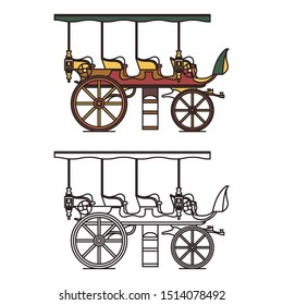 Three seats stagecoach or XIX century steam car. First electric machine or waggon automobile, classic opened motor vehicle or cab with engine. Electric public crew contour or outline. Wheel transport