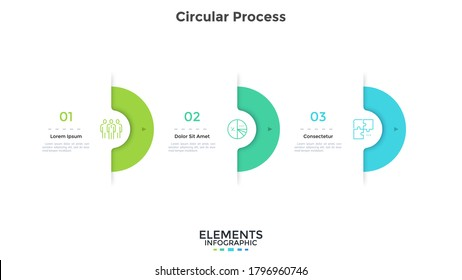 Three semi-circular elements placed in horizontal row. Concept of 3 successive stages of project development process. Modern infographic design template. Simple vector illustration for progress bar.
