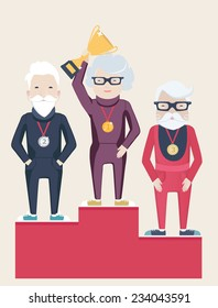 Three senior people on a winners podium with an elderly grey-haired lady holding up a gold trophy having been awarded as the champion, flat style vector illustration