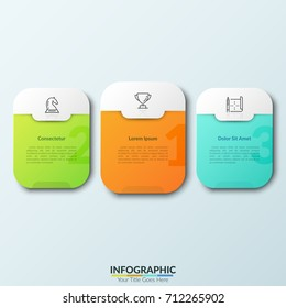 Three separate colorful rounded rectangles with numbers, thin line pictograms and text boxes inside.Concept of 3 places for competition winners. Modern infographic design template. Vector illustration