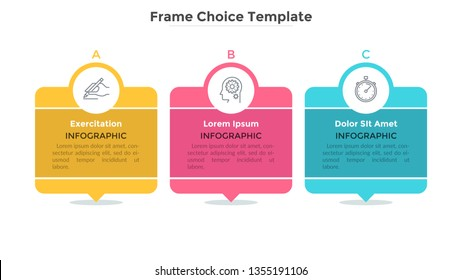 Three separate lettered rectangular elements with thin line symbols, text boxes inside and pointers. Description of company services. Minimalistic infographic design template. Vector illustration.