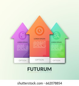 Three separate multicolored arrows pointing upward with numbers, thin line pictograms and place for text inside. Concept of growth and rise. Modern infographic design template. Vector illustration.