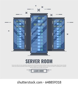 Three server rack. Server room concept, data bank center, web hosting flat vector illustration