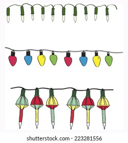 Three sets hand drawn electric Christmas decoration lights, white twinkle, vintage color, vintage bubble lights graphic vector sets