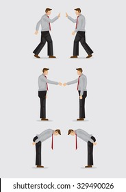 Three sets of vector illustration showing the different social gestures of greeting for different cultures, including, waving, handshake and bowing isolated on plain background.