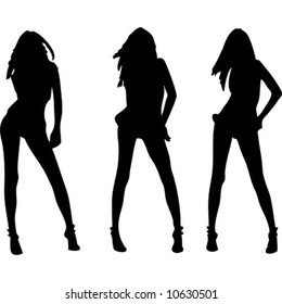 Three sexy girls vectors silhouette