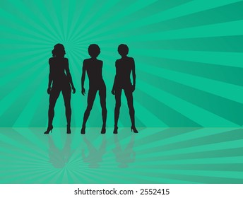 Three sexy ladies dancing on a green background