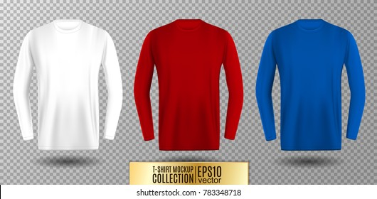 Three shades of white, red and blue long sleeve t-shirt. Vector mock up.