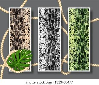 Three shameless snake skin pattern texture. Trendy vector texture snake set. Fashion and stylish background. Fashionable print.