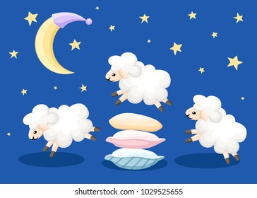 Three sheep jumping over the pillows sleep time count sheeps from insomnia on a blue background with stars and moon vector illustration web site page and mobile app design.