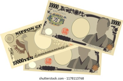Three sheets of Japan's 10000 yen note.It means Japanese 10000 yen information.