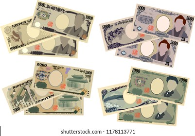 Three sheets of Japan's yen note set.It means Japanese yen information.
