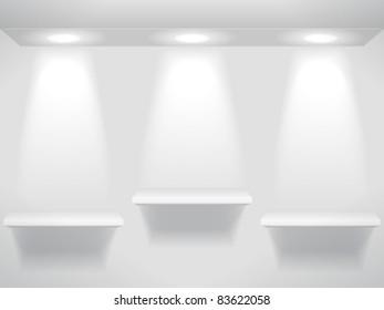 Three shelves in the light
