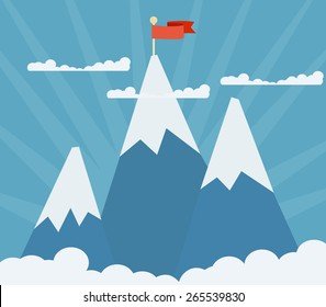 Three shining mountain peaks on a blue background with a red flag on top of one of them