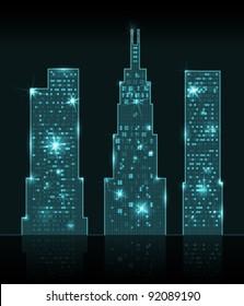 Three shining skyscrapers