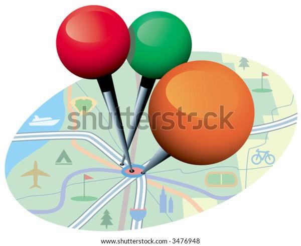 Three shiny pins mark a popular spot on the map.