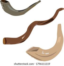 Three shofar horns of different colors