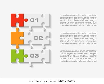 Three sided 3d round puzzle presentation. Abstract puzzle infographic template explanatory text business statistic. Vector 3 pieces puzzles illustration. Section four circle compare service banner