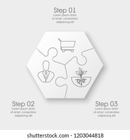 Three sided round puzzle presentation. Abstract puzzle infographic template explanatory text field for business statistics. Vector 3 pieces puzzles illustration. Section three compare service banner