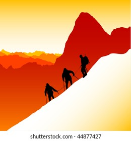 Three silhouetted mountaineers descending a ridge in the French Alps with Mont Blanc in the background