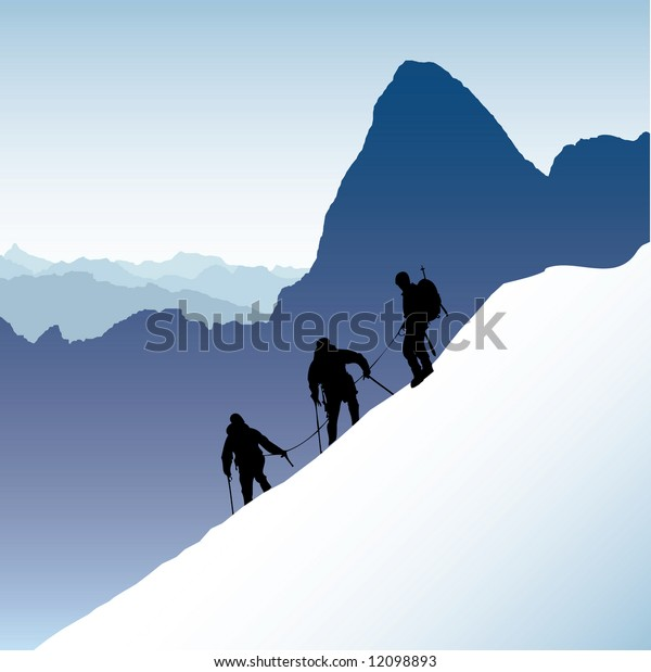 Three silhouetted mountaineers descending a ridge in the French Alps with Mont Blank in the background
