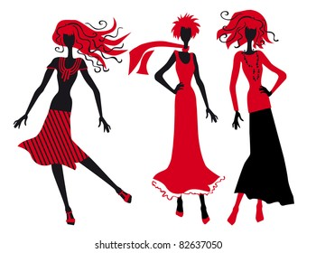 three silhouettes of fashionable girls on a white background