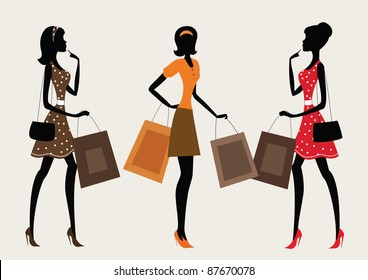 Three silhouettes of a women shopping, vintage style